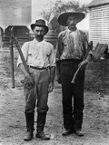 1890s-1900s 2 Men on Farm in Work Clothes One Holding Pruner and One Holding Ax Photographic Print