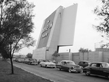 1950s Cars in Traffic Jam Leaving Entering Drive-In Theatre Photographic Print