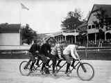 1890s-1900s 4 Men Riding Racing Quadricycle Four Seat Bicycle Fotoprint