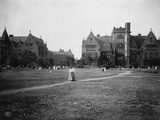 Students at University of Chicago Campus Photographic Print