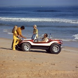 1970s 2 Couples Men Women on Beach with Red White Dune Buggy Photographic Print