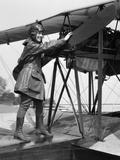 1920s Woman Aviator Turning Float Biplane Propeller Photographic Print