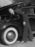 1939 1940s Man Wearing Suit and Tie Checking Engine under Automobile Hood Photographic Print