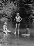 1940s Three Boys Outdoor in Swimming Hole Photographic Print