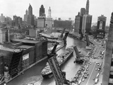 Cargo Ship on Chicago River Fotoprint