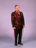 1970s Middle Aged Man Business Suit Disapointed Depressed Unhappy Tied Up in Red Tape Photographic Print