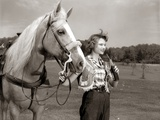 1950s Teenage Girl Western Wear Holding Horse Halter Drinking Carbonated Beverage from Bottle Photographic Print