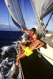 Couple Enjoying the Ride on Deck of Sailboat Heading Toward St. Vincent West Indies Photographic Print