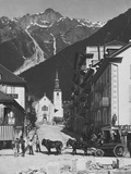 Horse-Drawn Carriage in Chamonix Photographic Print