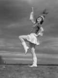 1940s Woman Drum Major in Majorette Band Uniform Twirling Baton Photographic Print