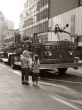 1970s 2 Children Boy Girl Holding Hands Looking at Fire Truck Parked on Street New York City Photographic Print
