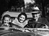 1930s Family Portrait Man Father Woman Mother Boy Son Riding in Convertible Automobile Photographic Print
