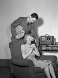 1940s Teen Couple Boy with Hand over Girl Eyes Surprising Her with Box of Valentines Day Candy Photographic Print