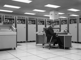 1960s Man Programing Mainframe Computer at Control Room Console Photographic Print