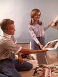 1960s Teenage Couple Boy Girl Sorting Listening to Vinyl Record Music Albums Photographic Print