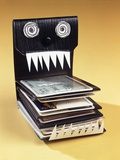 1960s Symbolic Monster Wallet with Wild Eyes and Sharp Teeth Filled with Credit Cards Photographic Print