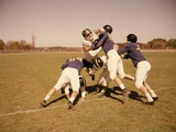 1960s Six Football Players Running Blocking Tackling on Scrimmage Field Photographic Print