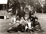 1890s Large Formal Family Group Photo Outside Photographic Print
