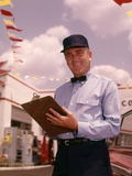 1950s-1960s Mechanic Holding Check List on Clipboard Photographic Print