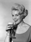 1960s Retro Woman Beer Glass Smile Photographic Print