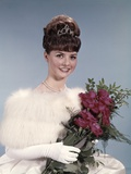 1960s Young Woman Wearing Crown White Fur Stole Gloves Holding Bouquet of Red Roses Photographic Print