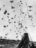 Troops Parachuting into Korea Photographic Print