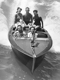 1930s Couples Five Men and Women Riding in Runabout Power Boat Photographic Print