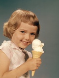 1950s-1960s Girl Eating Ice Cream Cone Double Scoop Vanilla Photographic Print
