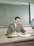 1960s Student Studying Desk Globe Open Book Writing Chalkboard High School Photographic Print