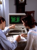 1980s Teenage Couple Boy and Girl Working Together on Apple Iii Personal Computer Photographic Print