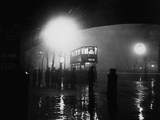 London Bus in Fog Photographic Print