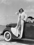 1930s-1940s Woman Wearing Chenille Beach Robe Posing on Running Board of Convertible Automobile Photographic Print