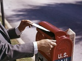 1960s Male Hand Dropping Letter into U.S. Postal Mailbox Man Mailing Letter Photographic Print
