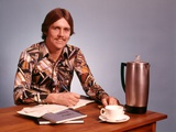 1970s Young Man Mustache Loud Print Shirt Desk Empty Coffee Cup Pot Family Budget Photographic Print