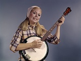 1960s Young Blonde Woman Wearing Plaid Shirt Playing Banjo Singing Folk Music Looking at Camera Photographic Print
