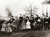 1890s-1900s Posed Group 18 Neighborhood Children on Front Yard Photographic Print