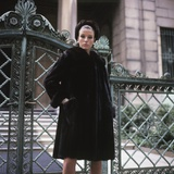 1960s Young Woman Wearing Dark Mink Coat Hat Standing Ornate Wrought Iron Gate Fur Retro Photographic Print