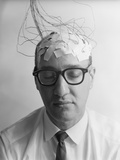 1960s Patient with Wires Taped to Bald Head Testing Brain Waves for Sanity Photographic Print