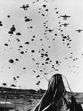 Troops Parachuting into Korea Photographic Print