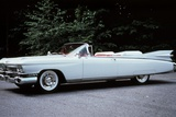 1959 White Cadillac Eldorado Biarritz Convertible Automobile Side View Reproduction photographique