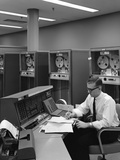 1960s Man in Shirt and Tie and Glasses at Control Console for Ibm Data Processing Systm Photographic Print