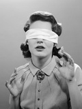 1950s Woman Blindfolded Photographic Print
