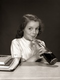 1950s-1960s School Girl Using Straw Drinking Carbonated Beverage from Bottle Photographic Print