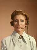 1960s-1970s Portrait Woman Telephone Operator Receptionist Office Worker Wearing Headset Photographic Print