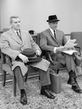 1950s-1960s Two Men Businessman Salesman Sitting in Office Reception Waiting Area Indoor Photographic Print