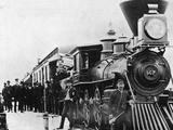 Men and Canadian Steam Locomotive Photographic Print