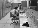 1960s-1970s Computer Room Mission Control Center Houston Texas 2 Men Sitting at Console Photographic Print
