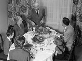 1940s-1950s 3 Generation Family Meal Dining Room Table Grandfather Carving Turkey Photographic Print