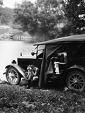 1920s Two Women Camping Lakeside in Automobile Drying Off Changing Clothes after Swimming Photographic Print