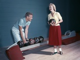 1950s Laughing Couple Man Woman Bowling Photographic Print